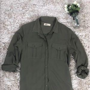 Hollister button down, medium, military green